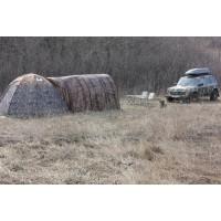 Увеличенный тамбур бани - палатки для зимней рыбалки. Цена УП 3 и УП 5