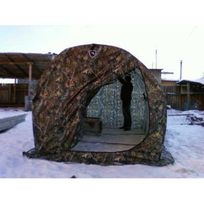 Палатка для бани мобильной зимой и